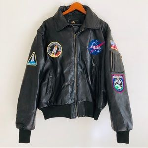 Alpha Industries Leather NASA Bomber Patch Jacket